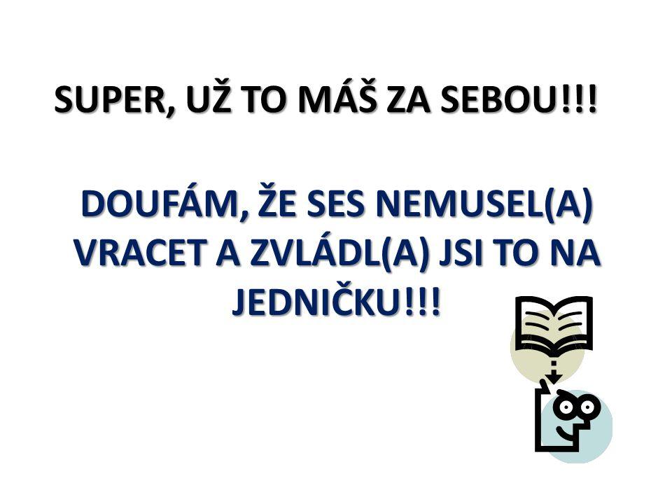 SUPER, UŽ TO MÁŠ ZA SEBOU!!! DOUFÁM, ŽE SES NEMUSEL(A) VRACET A ZVLÁDL(A) JSI TO NA JEDNIČKU!!!