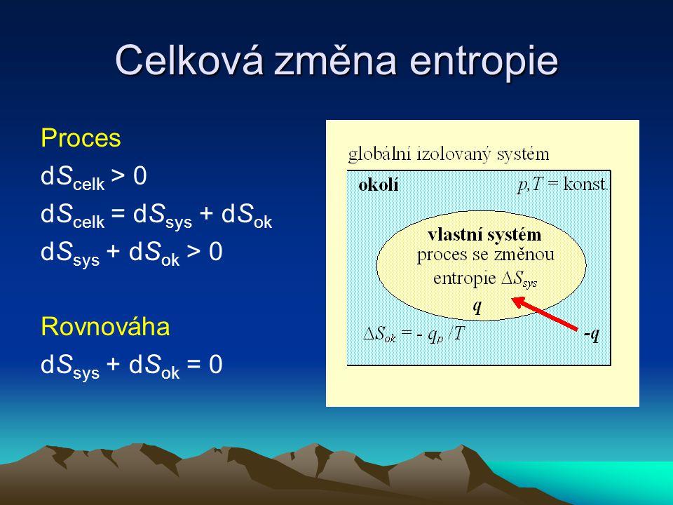 Celková změna entropie Proces dS celk > 0 dS celk = dS sys + dS ok dS sys + dS ok > 0 Rovnováha dS sys + dS ok = 0