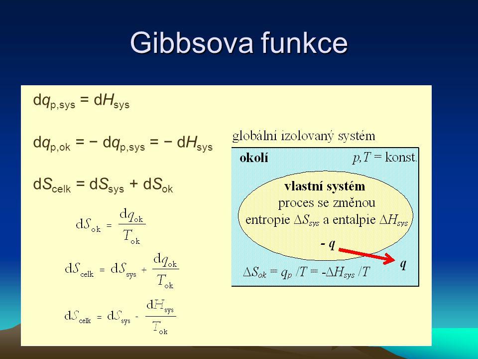 Gibbsova funkce T dS celk = T dS − dH > 0 − T dS celk = dH − T dS dG = dH − T dS dG < 0 Termodynamická rovnováha dG = 0 Gibbsova funkce G = H − TS dG = dH − T dS − S dT (p = konst.) dG = dH − T dS (T = konst.) − T dS celk = dG dS celk = - dG/ T Aby dS celk > 0 musí být dG < 0
