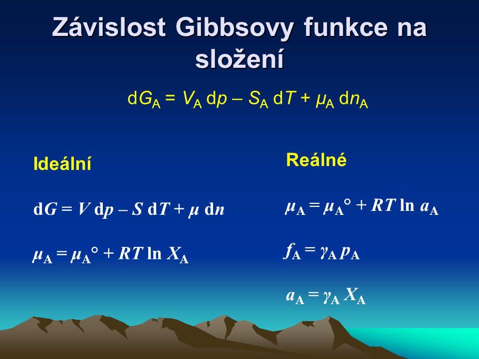 Závislost Gibbsovy funkce na složení dG A = V A dp – S A dT + μ A dn A Ideální dG = V dp – S dT + μ dn μ A = μ A ° + RT ln X A Reálné μ A = μ A ° + RT ln a A f A = γ A p A a A = γ A X A