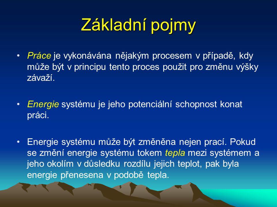 Základní pojmy Práce je vykonávána nějakým procesem v případě, kdy může být v principu tento proces použit pro změnu výšky závaží. Energie systému je