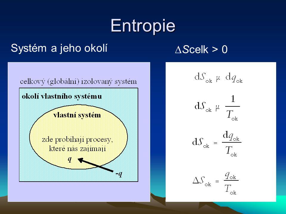 Entropie ∆Scelk > 0 Systém a jeho okolí