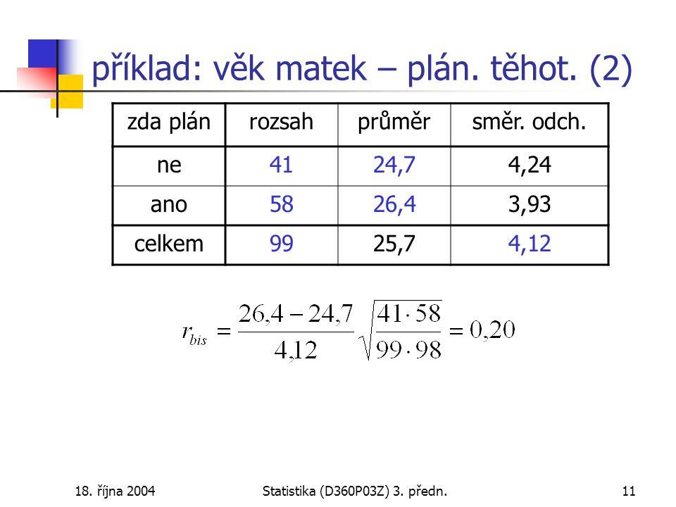 18. října 2004Statistika (D360P03Z) 3. předn.11 příklad: věk matek – plán.