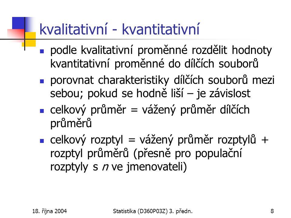 18.října 2004Statistika (D360P03Z) 3. předn.9 příklad: věk matek – plán.