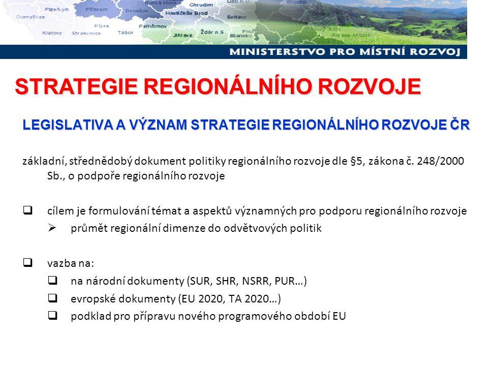 LEGISLATIVA A VÝZNAM STRATEGIE REGIONÁLNÍHO ROZVOJE ČR základní, střednědobý dokument politiky regionálního rozvoje dle §5, zákona č. 248/2000 Sb., o