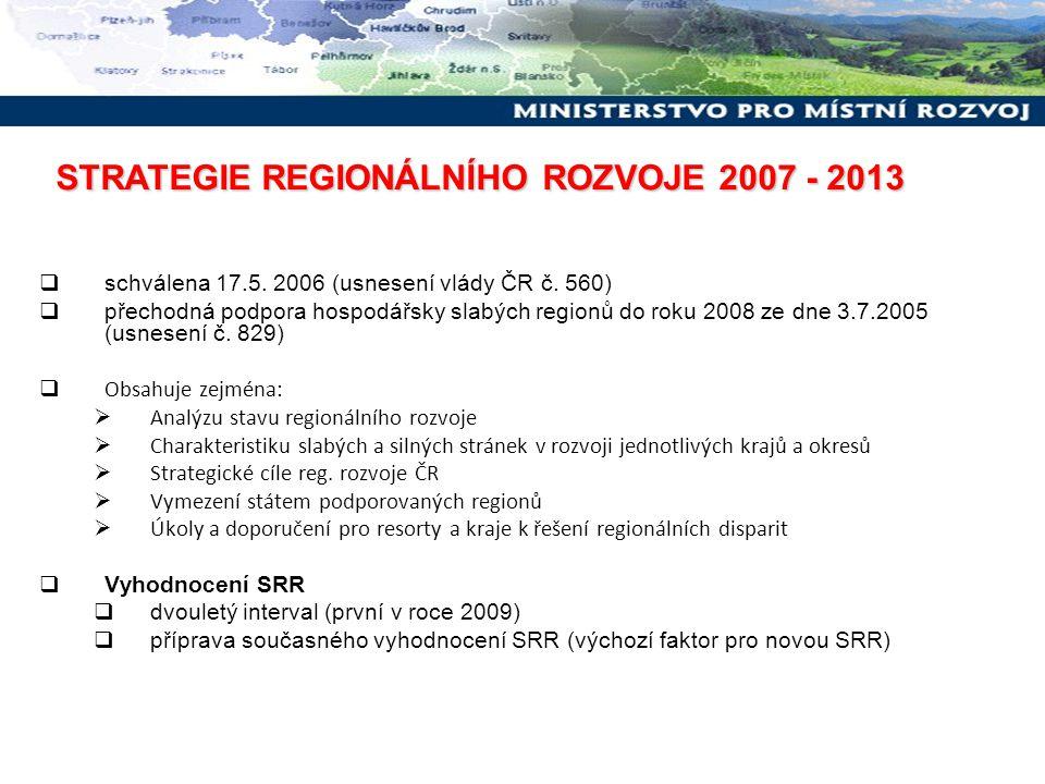  schválena 17.5. 2006 (usnesení vlády ČR č. 560)  přechodná podpora hospodářsky slabých regionů do roku 2008 ze dne 3.7.2005 (usnesení č. 829)  Obs