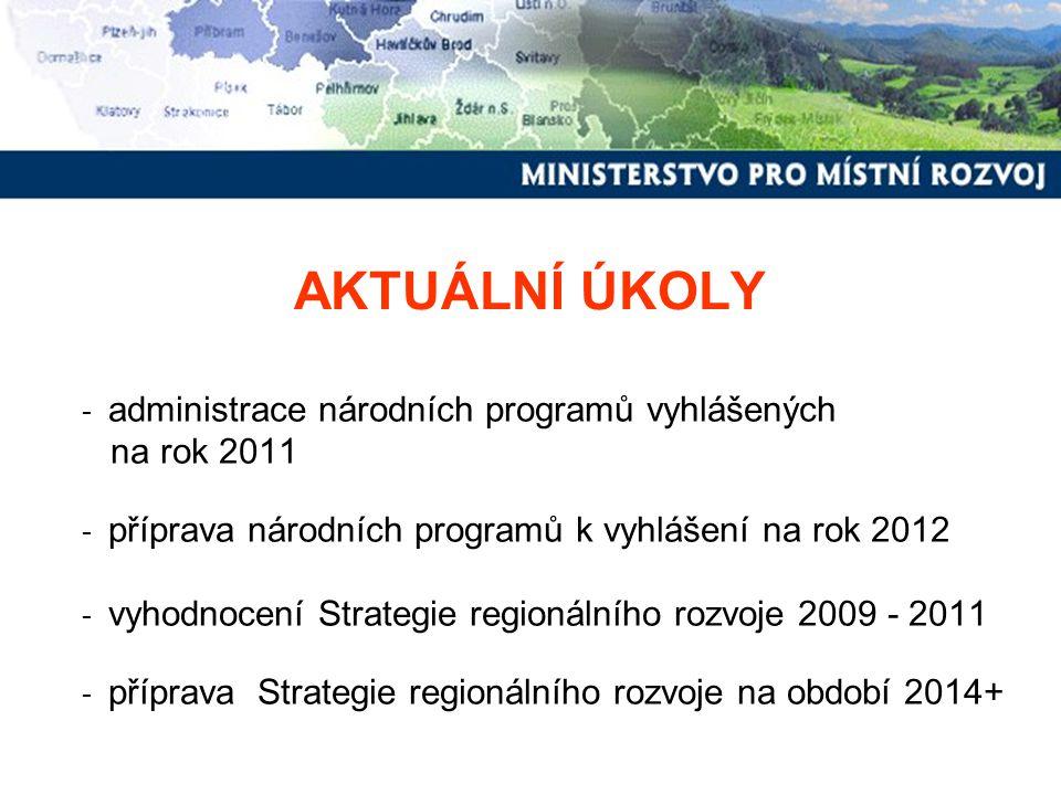 """Administrace """"Národních programů v roce 2011 Program obnovy a rozvoje venkova Zásady: http://www.mmr.cz/Regionalni-politika/Programy-Dotace/Podpora-rozvoje- regionu-v-roce--2011/Podpora-obnovy-a-rozvoje-venkovahttp://www.mmr.cz/Regionalni-politika/Programy-Dotace/Podpora-rozvoje- regionu-v-roce--2011/Podpora-obnovy-a-rozvoje-venkova Podpora revitalizace bývalých vojenských areálů Zásady: http://www.mmr.cz/Regionalni-politika/Programy-Dotace/Podpora-rozvoje- regionu-v-roce--2011/Podpora-revitalizace-byvalych-vojenskych-arealu Obnova obecního a krajského majetku postiženého živelní nebo jinou pohromou Zásady: http://www.mmr.cz/CMSPages/GetFile.aspx?guid=501d20ce-0c5e-457c- 9820-329638c9573c Bezbariérové obce Zásady: http://www.mmr.cz/Regionalni-politika/Programy-Dotace/Podpora-pri- odstranovani-barier-v-budovach-pro-(1)"""