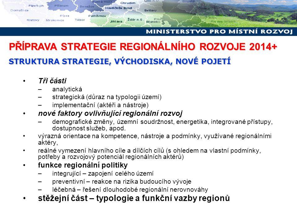 Tři části –analytická –strategická (důraz na typologii území) –implementační (aktéři a nástroje) nové faktory ovlivňující regionální rozvoj –demografi