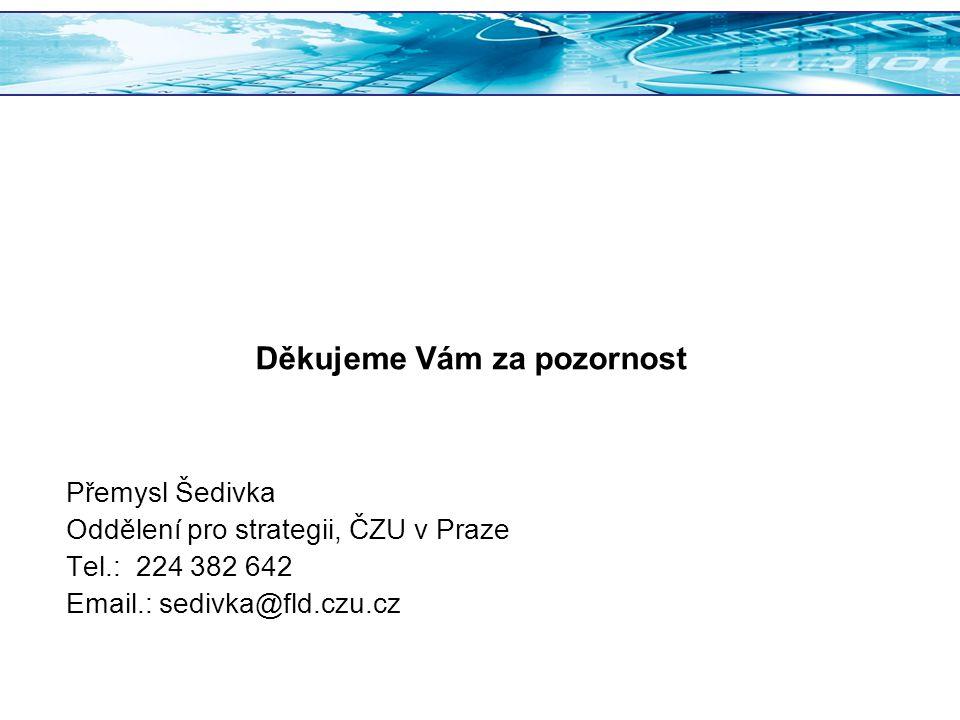 Přemysl Šedivka Oddělení pro strategii, ČZU v Praze Tel.: 224 382 642 Email.: sedivka@fld.czu.cz Děkujeme Vám za pozornost