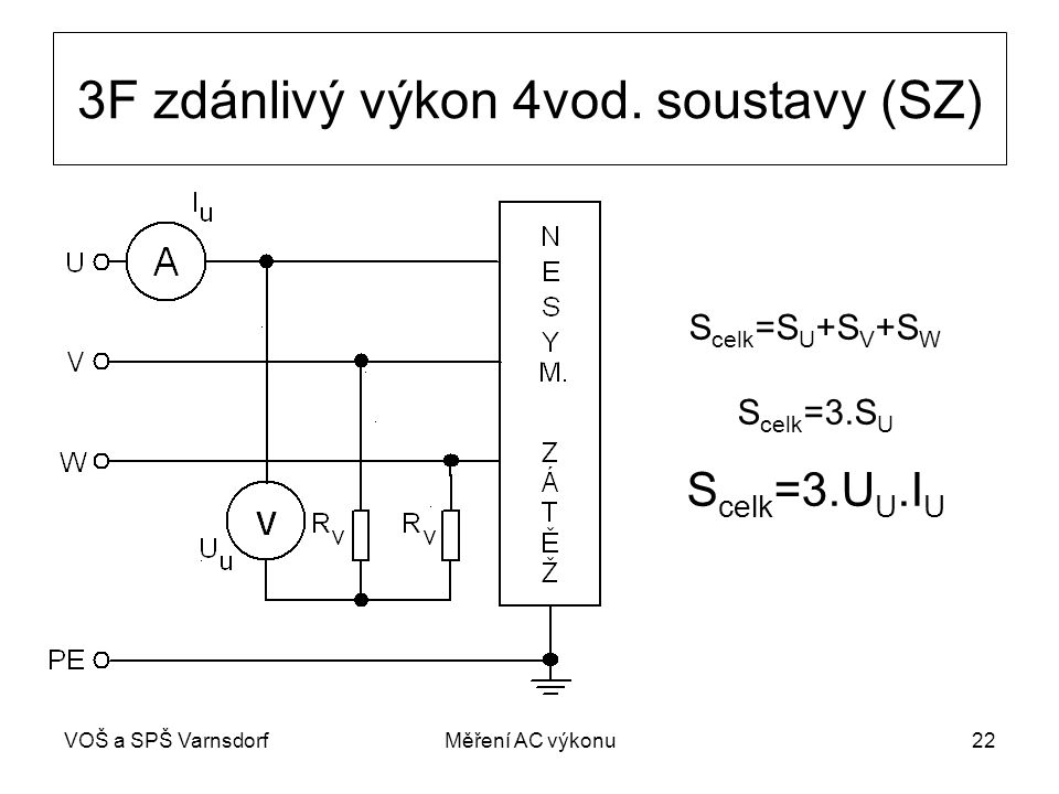 VOŠ a SPŠ VarnsdorfMěření AC výkonu22 3F zdánlivý výkon 4vod.
