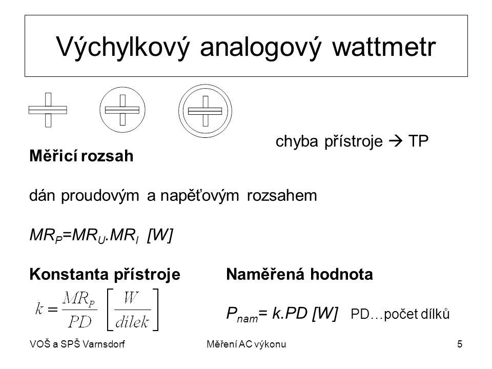 VOŠ a SPŠ VarnsdorfMěření AC výkonu5 Výchylkový analogový wattmetr chyba přístroje  TP Měřicí rozsah dán proudovým a napěťovým rozsahem MR P =MR U.MR I [W] Konstanta přístrojeNaměřená hodnota P nam = k.PD [W] PD…počet dílků