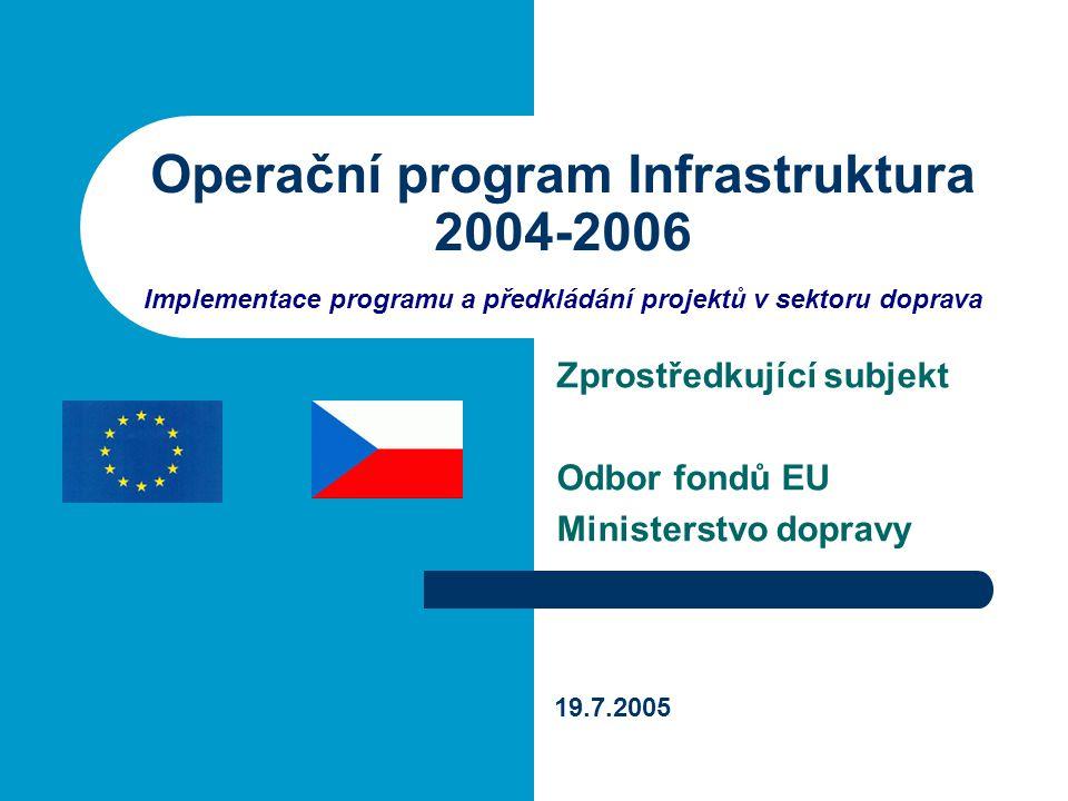 19.7.2005 Operační program Infrastruktura 42 Kritéria výběru projektů - obecná Č.KritériumVáha kritéria 1Relevance projektu40 % 2Kvalita projektu (technicko- ekonomická) 30 % 3Ekonomická způsobilost žadatele (subjektu podpory), způsob a výše spolufinancování 20 % 4Horizontální priority10 %