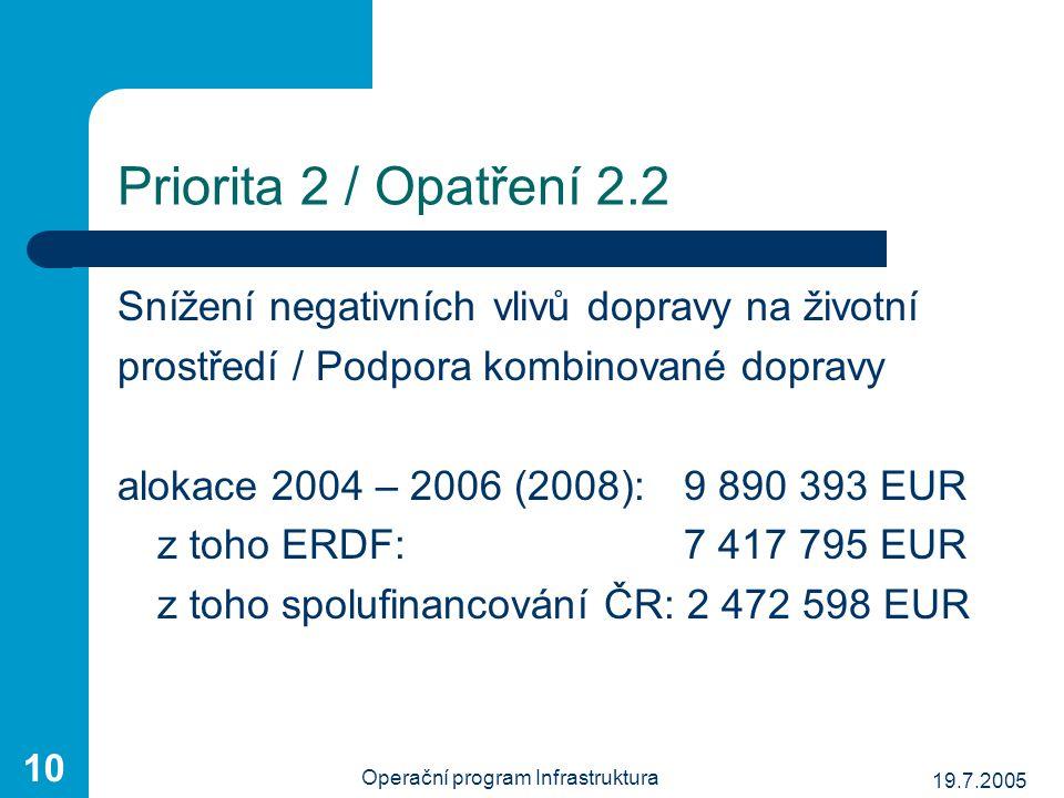 19.7.2005 Operační program Infrastruktura 10 Priorita 2 / Opatření 2.2 Snížení negativních vlivů dopravy na životní prostředí / Podpora kombinované do