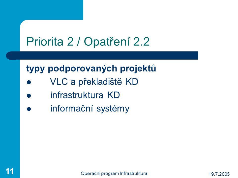 19.7.2005 Operační program Infrastruktura 11 typy podporovaných projektů VLC a překladiště KD infrastruktura KD informační systémy Priorita 2 / Opatře