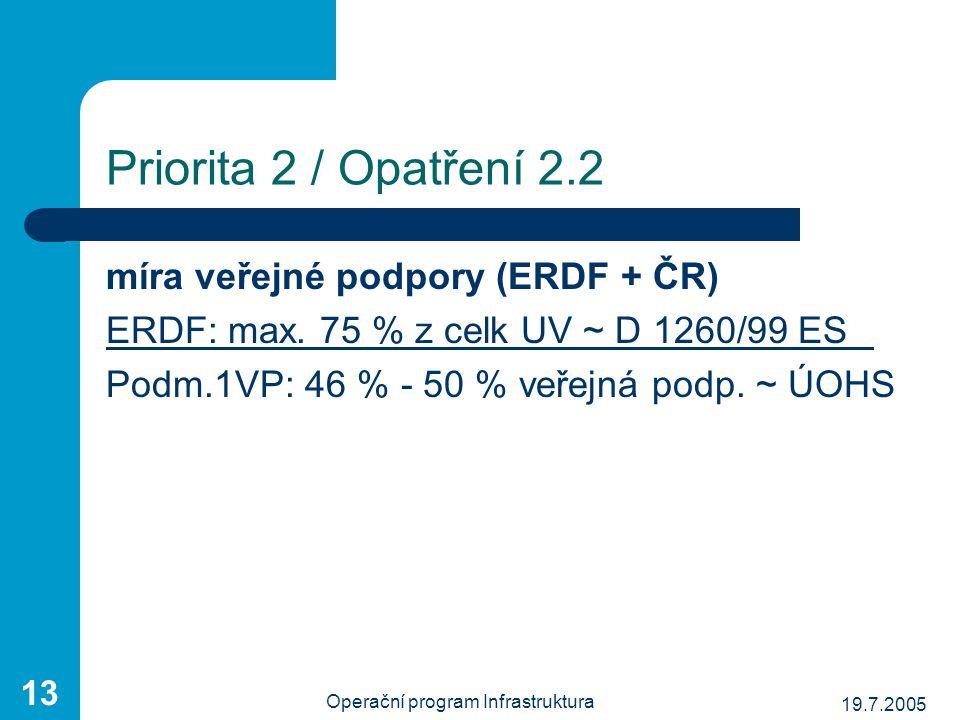 19.7.2005 Operační program Infrastruktura 13 Priorita 2 / Opatření 2.2 míra veřejné podpory (ERDF + ČR) ERDF: max. 75 % z celk UV ~ D 1260/99 ES Podm.