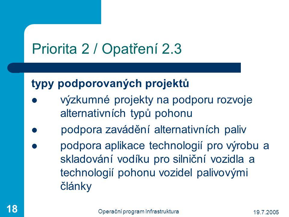 19.7.2005 Operační program Infrastruktura 18 Priorita 2 / Opatření 2.3 typy podporovaných projektů výzkumné projekty na podporu rozvoje alternativních