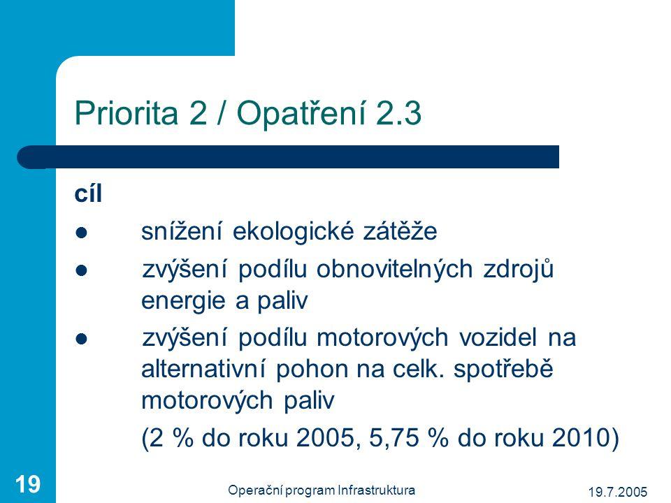 19.7.2005 Operační program Infrastruktura 19 Priorita 2 / Opatření 2.3 cíl snížení ekologické zátěže zvýšení podílu obnovitelných zdrojů energie a pal