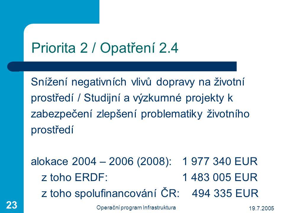19.7.2005 Operační program Infrastruktura 23 Priorita 2 / Opatření 2.4 Snížení negativních vlivů dopravy na životní prostředí / Studijní a výzkumné pr