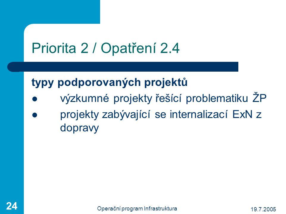19.7.2005 Operační program Infrastruktura 24 Priorita 2 / Opatření 2.4 typy podporovaných projektů výzkumné projekty řešící problematiku ŽP projekty z