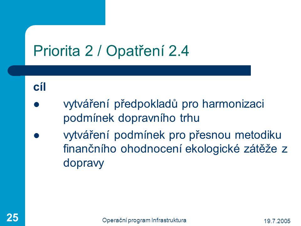 19.7.2005 Operační program Infrastruktura 25 Priorita 2 / Opatření 2.4 cíl vytváření předpokladů pro harmonizaci podmínek dopravního trhu vytváření po