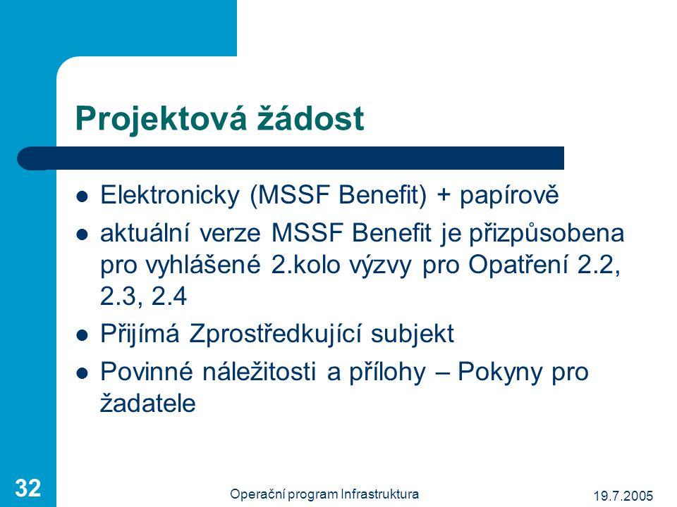 19.7.2005 Operační program Infrastruktura 32 Projektová žádost Elektronicky (MSSF Benefit) + papírově aktuální verze MSSF Benefit je přizpůsobena pro