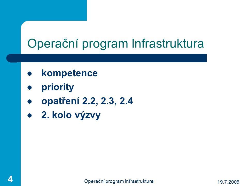 19.7.2005 Operační program Infrastruktura 25 Priorita 2 / Opatření 2.4 cíl vytváření předpokladů pro harmonizaci podmínek dopravního trhu vytváření podmínek pro přesnou metodiku finančního ohodnocení ekologické zátěže z dopravy