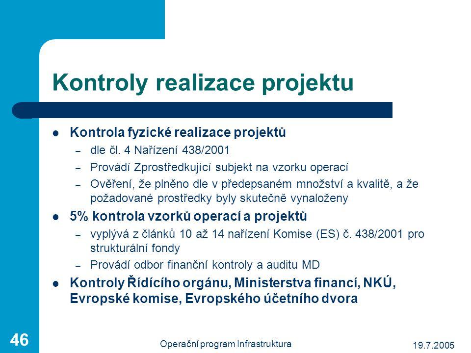 19.7.2005 Operační program Infrastruktura 46 Kontroly realizace projektu Kontrola fyzické realizace projektů – dle čl. 4 Nařízení 438/2001 – Provádí Z