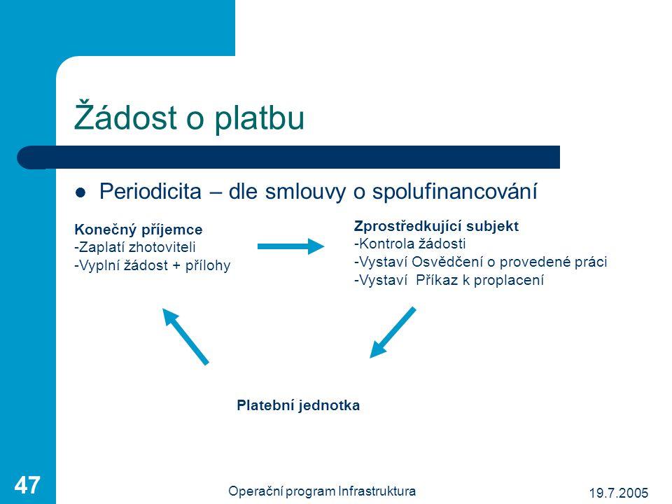 19.7.2005 Operační program Infrastruktura 47 Periodicita – dle smlouvy o spolufinancování Konečný příjemce -Zaplatí zhotoviteli -Vyplní žádost + přílo