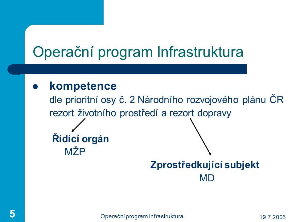 19.7.2005 Operační program Infrastruktura 5 kompetence dle prioritní osy č. 2 Národního rozvojového plánu ČR rezort životního prostředí a rezort dopra
