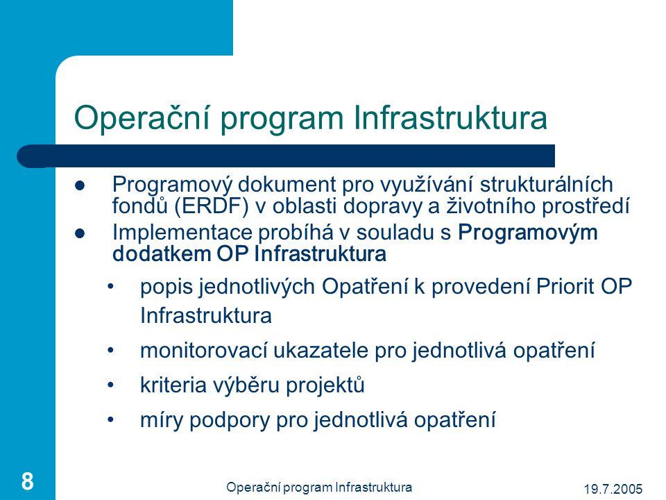 19.7.2005 Operační program Infrastruktura 9 priority P1 – Modernizace a rozvoj DI celostátního významu P2 – Snížení negativních důsledků dopravy na ŽP P3 – Zlepšování environmentální infrastruktury P4 – Technická pomoc Operační program Infrastruktura