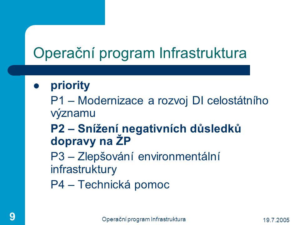 19.7.2005 Operační program Infrastruktura 9 priority P1 – Modernizace a rozvoj DI celostátního významu P2 – Snížení negativních důsledků dopravy na ŽP