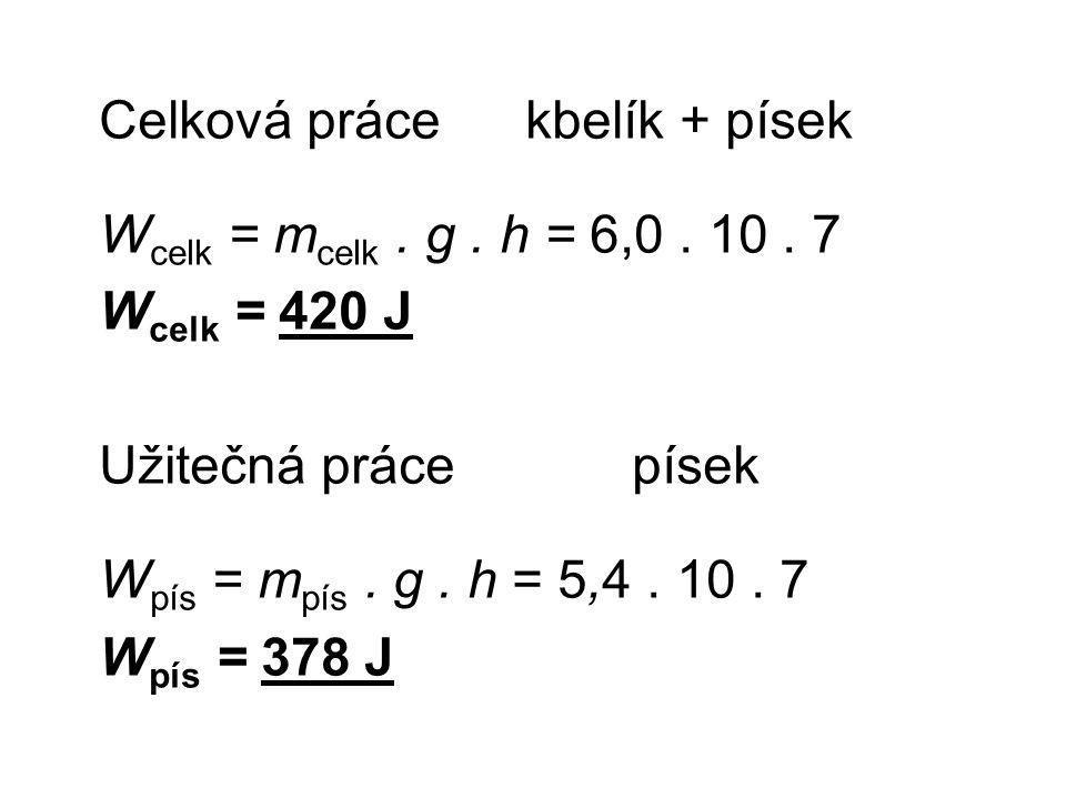 Celková práce kbelík + písek W celk = m celk. g. h = 6,0.
