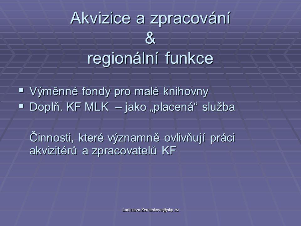 Ladislava.Zemankova@nkp.cz Akvizice a zpracování & regionální funkce  Výměnné fondy pro malé knihovny  Doplň.