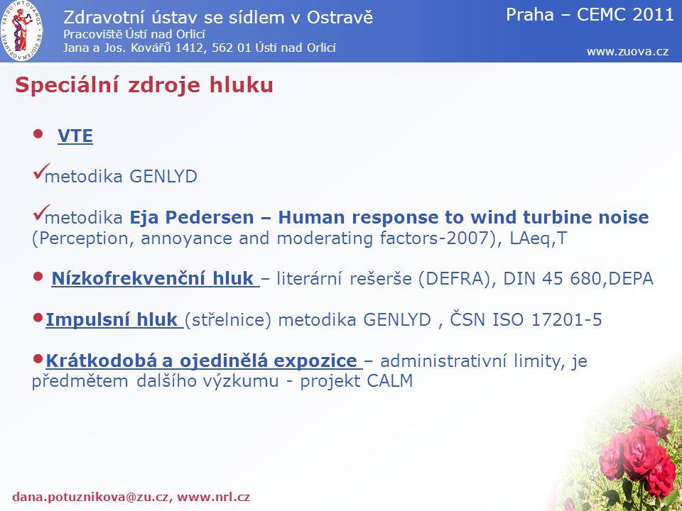 Speciální zdroje hluku VTE metodika GENLYD metodika Eja Pedersen – Human response to wind turbine noise (Perception, annoyance and moderating factors-