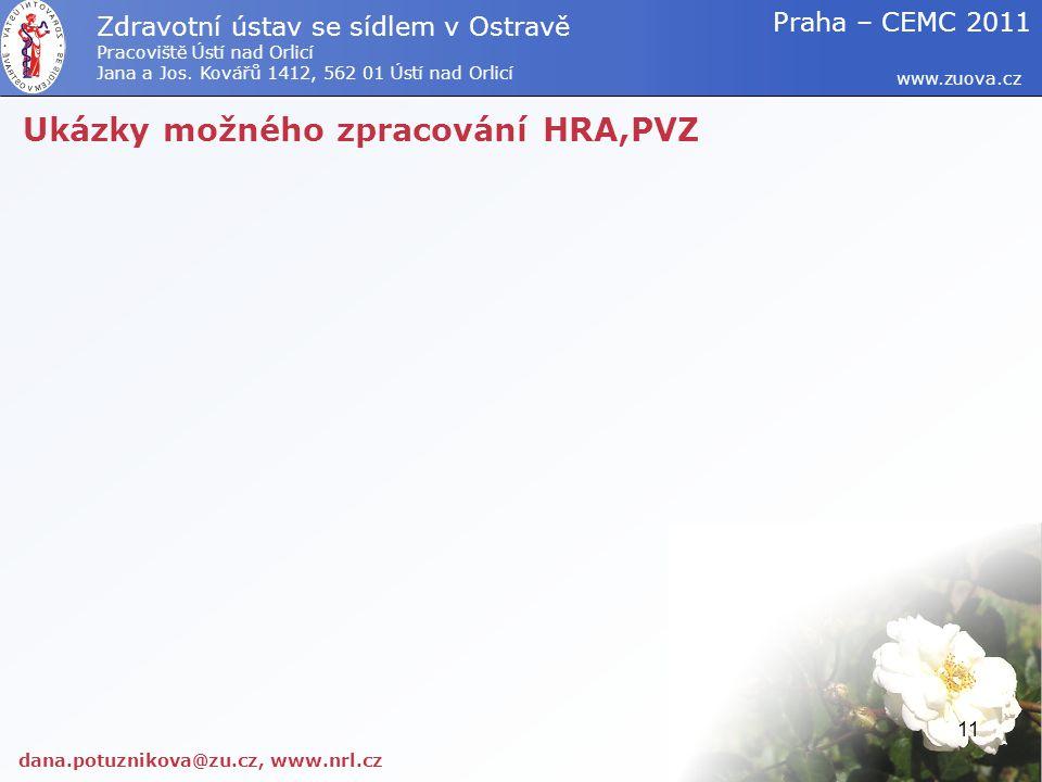 Ukázky možného zpracování HRA,PVZ dana.potuznikova@zu.cz, www.nrl.cz www.zuova.cz Zdravotní ústav se sídlem v Ostravě Pracoviště Ústí nad Orlicí Jana