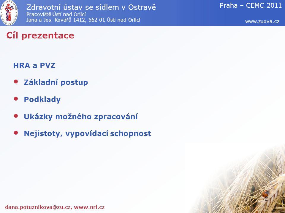 Cíl prezentace HRA a PVZ Základní postup Podklady Ukázky možného zpracování Nejistoty, vypovídací schopnost dana.potuznikova@zu.cz, www.nrl.cz www.zuo