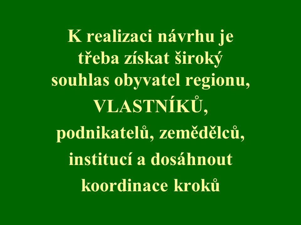 K realizaci návrhu je třeba získat široký souhlas obyvatel regionu, VLASTNÍKŮ, podnikatelů, zemědělců, institucí a dosáhnout koordinace kroků