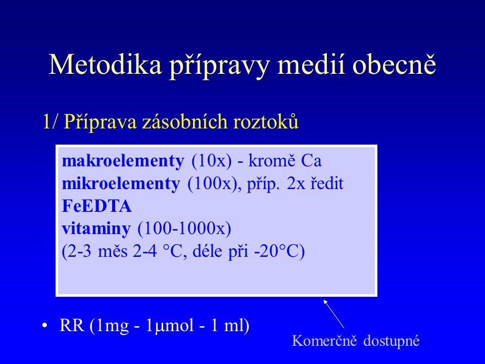 Metodika přípravy medií obecně 1/ Příprava zásobních roztoků RR (1mg - 1  mol - 1 ml) makroelementy (10x) - kromě Ca mikroelementy (100x), příp.