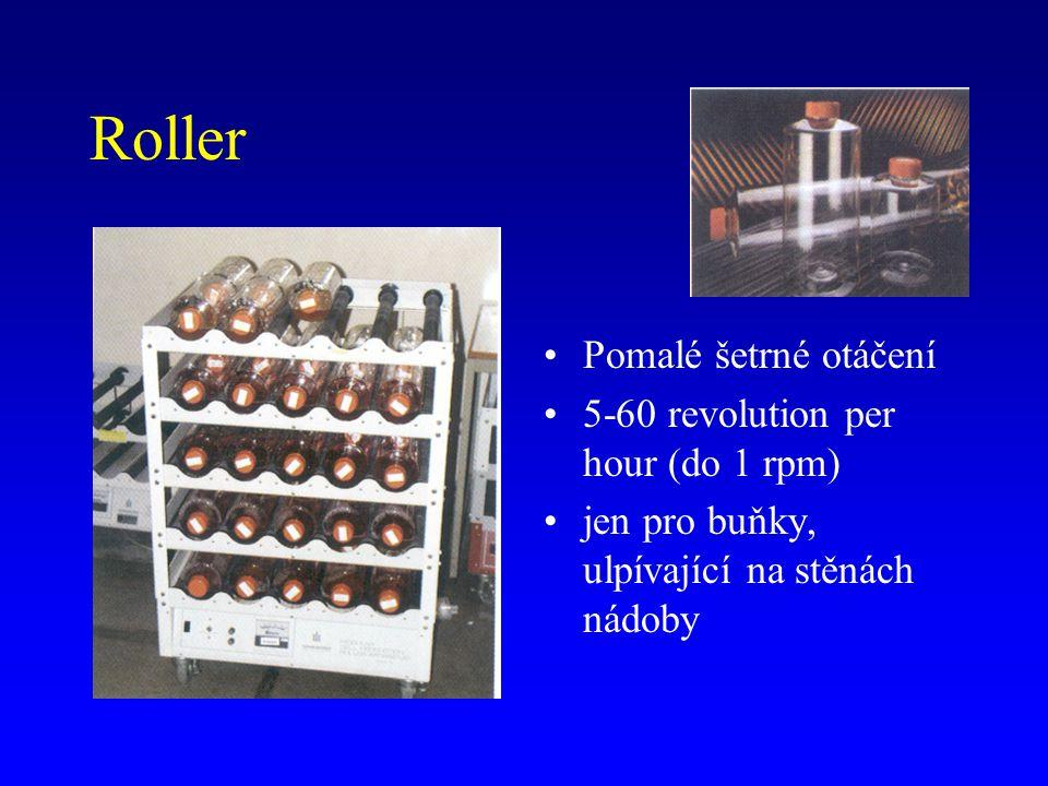 Roller Pomalé šetrné otáčení 5-60 revolution per hour (do 1 rpm) jen pro buňky, ulpívající na stěnách nádoby