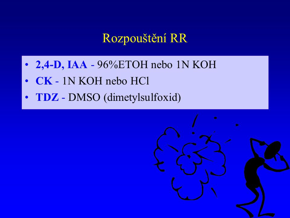 Rozpouštění RR 2,4-D, IAA - 96%ETOH nebo 1N KOH CK - 1N KOH nebo HCl TDZ - DMSO (dimetylsulfoxid)