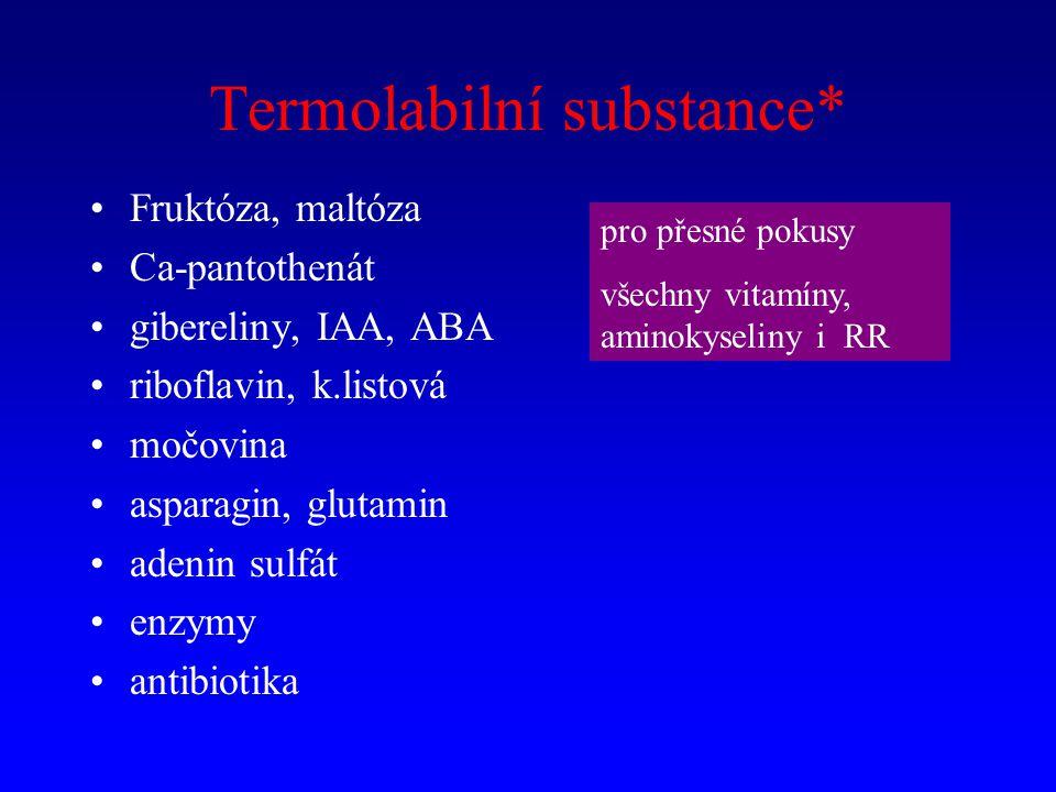 Termolabilní substance* Fruktóza, maltóza Ca-pantothenát gibereliny, IAA, ABA riboflavin, k.listová močovina asparagin, glutamin adenin sulfát enzymy antibiotika pro přesné pokusy všechny vitamíny, aminokyseliny i RR