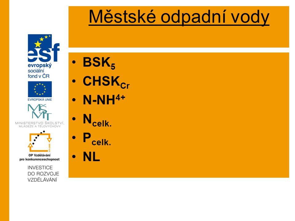 Městské odpadní vody BSK 5 CHSK Cr N-NH 4+ N celk. P celk. NL