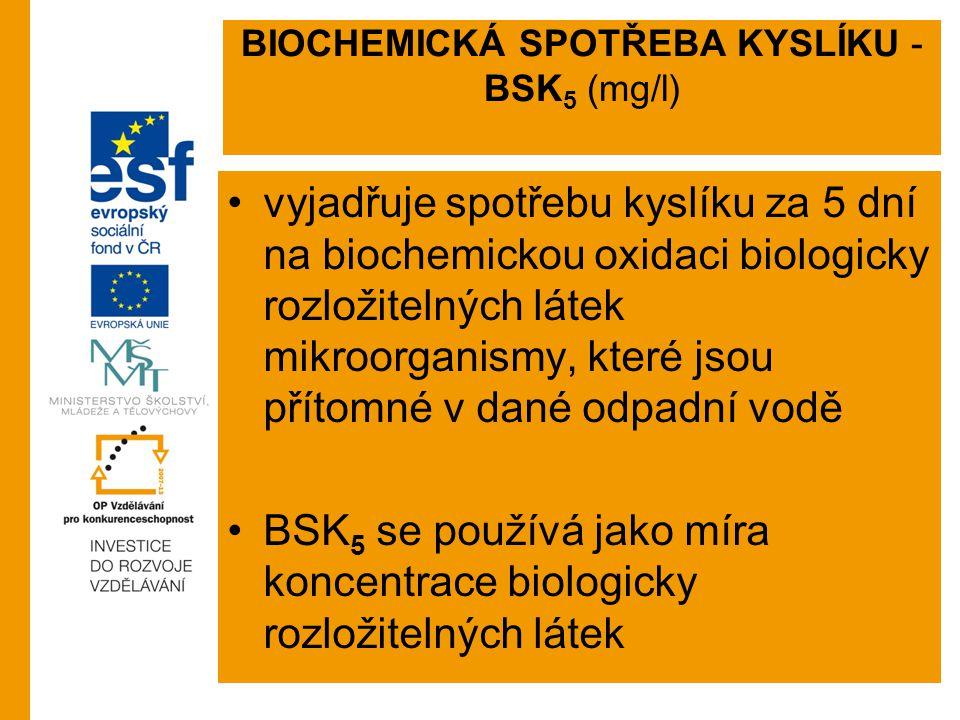 BIOCHEMICKÁ SPOTŘEBA KYSLÍKU - BSK 5 (mg/l) vyjadřuje spotřebu kyslíku za 5 dní na biochemickou oxidaci biologicky rozložitelných látek mikroorganismy, které jsou přítomné v dané odpadní vodě BSK 5 se používá jako míra koncentrace biologicky rozložitelných látek