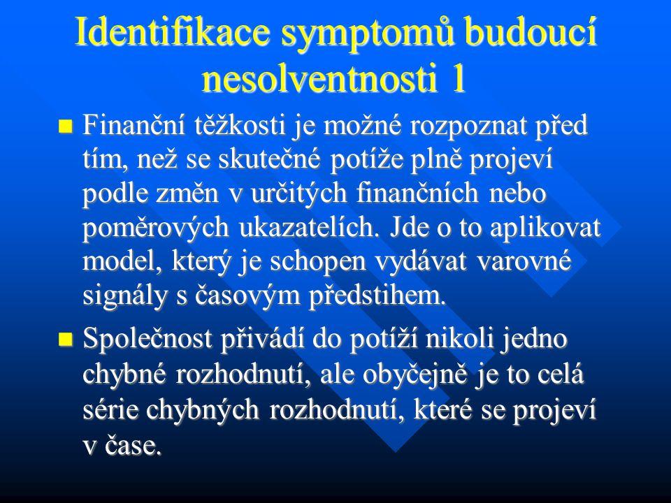 Identifikace symptomů budoucí nesolventnosti 1 Finanční těžkosti je možné rozpoznat před tím, než se skutečné potíže plně projeví podle změn v určitých finančních nebo poměrových ukazatelích.