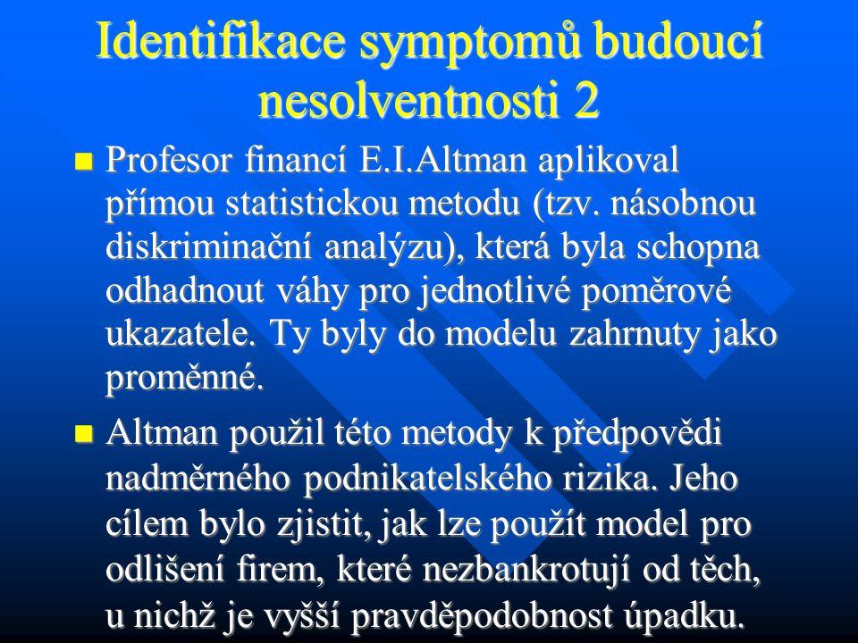 Identifikace symptomů budoucí nesolventnosti 2 Profesor financí E.I.Altman aplikoval přímou statistickou metodu (tzv.