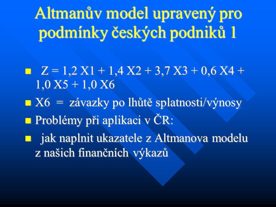 Altmanův model upravený pro podmínky českých podniků 1 Z = 1,2 X1 + 1,4 X2 + 3,7 X3 + 0,6 X4 + 1,0 X5 + 1,0 X6 Z = 1,2 X1 + 1,4 X2 + 3,7 X3 + 0,6 X4 + 1,0 X5 + 1,0 X6 X6 = závazky po lhůtě splatnosti/výnosy X6 = závazky po lhůtě splatnosti/výnosy Problémy při aplikaci v ČR: Problémy při aplikaci v ČR: jak naplnit ukazatele z Altmanova modelu z našich finančních výkazů jak naplnit ukazatele z Altmanova modelu z našich finančních výkazů
