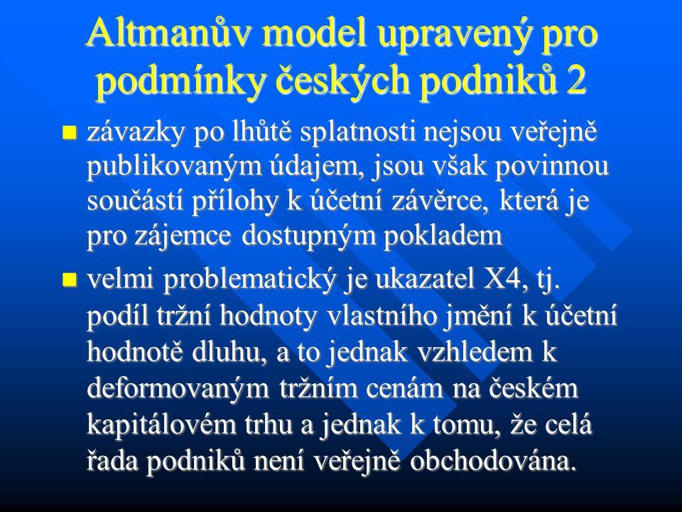 Altmanův model upravený pro podmínky českých podniků 2 závazky po lhůtě splatnosti nejsou veřejně publikovaným údajem, jsou však povinnou součástí přílohy k účetní závěrce, která je pro zájemce dostupným pokladem závazky po lhůtě splatnosti nejsou veřejně publikovaným údajem, jsou však povinnou součástí přílohy k účetní závěrce, která je pro zájemce dostupným pokladem velmi problematický je ukazatel X4, tj.