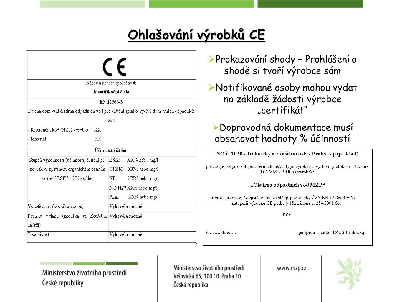 """Ohlašování výrobků CE  Prokazování shody – Prohlášení o shodě si tvoří výrobce sám  Notifikované osoby mohou vydat na základě žádosti výrobce """"certifikát  Doprovodná dokumentace musí obsahovat hodnoty % účinností NO č."""