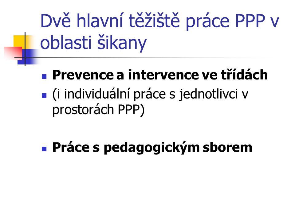 Dvě hlavní těžiště práce PPP v oblasti šikany Prevence a intervence ve třídách (i individuální práce s jednotlivci v prostorách PPP) Práce s pedagogic