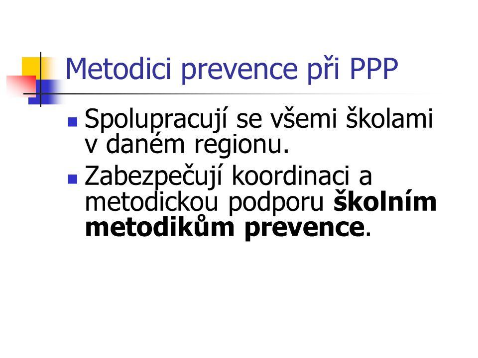 Metodici prevence při PPP Spolupracují se všemi školami v daném regionu. Zabezpečují koordinaci a metodickou podporu školním metodikům prevence.